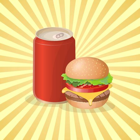 Burger and soda in a tin can - cute cartoon colored picture. Graphic design elements for menu, packaging, advertising, poster, brochure or background. Vector illustration of fast food