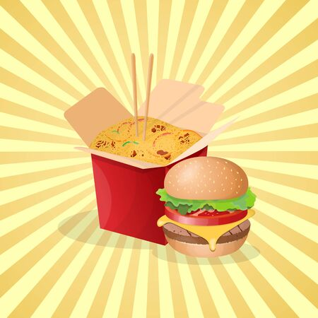 Burger and noodles wok - cute cartoon colored picture. Graphic design elements for menu, packaging, advertising, poster, brochure or background. Vector illustration of fast food