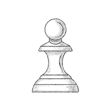 Pawn - chess piece isolated on white background. Hand drawn sketch in vintage engraving style. Vector illustration 일러스트
