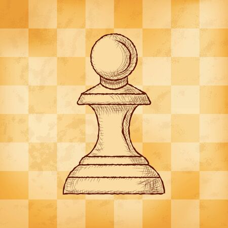 Pawn - chess piece on aged yellowed checkered background. Hand drawn sketch in vintage engraving style. Vector illustration