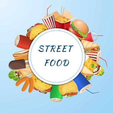 A set of varied street food and fast food on a blue background. Graphic design elements for menu, poster, brochure. Vector illustration of fast food for bistro, snackbar, cafe or restaurant