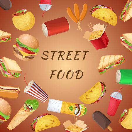A set of varied street food and fast food on a brown background. Graphic design elements for menu, poster, brochure. Vector illustration of fast food for bistro, snackbar, cafe or restaurant Vector Illustratie