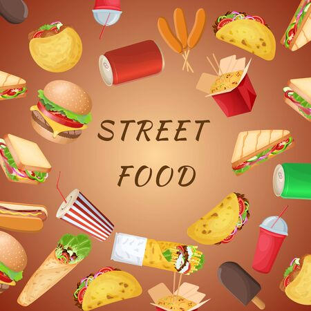 A set of varied street food and fast food on a brown background. Graphic design elements for menu, poster, brochure. Vector illustration of fast food for bistro, snackbar, cafe or restaurant