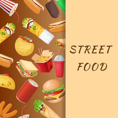A set of varied street food and fast food on a brown background. Graphic design elements for menu, poster, brochure. Vector illustration of fast food for bistro, snackbar, cafe or restaurant 矢量图像