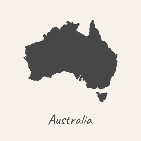 Dark map of Australia isolated on white background. Vector illustration 일러스트