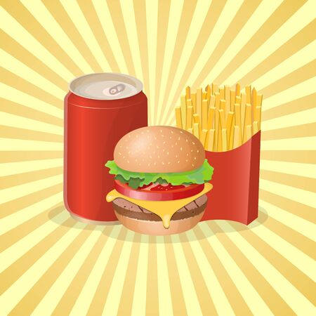 Burger, french fries and soda in a tin can - cute cartoon colored picture. Graphic design elements for menu, poster, brochure. Vector illustration of fast food for bistro, snackbar, cafe or restaurant