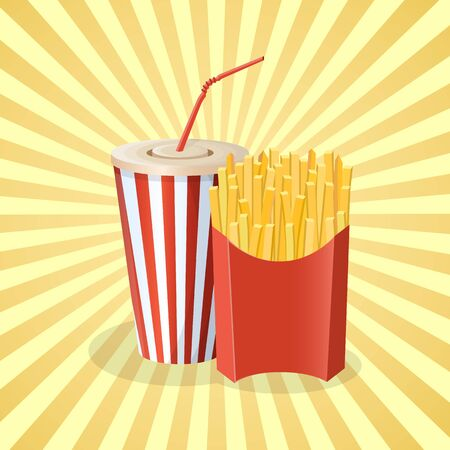 French fries and soda cup - cute cartoon colored picture. Graphic design elements for menu, poster, brochure. Vector illustration of fast food for bistro, snackbar, cafe or restaurant