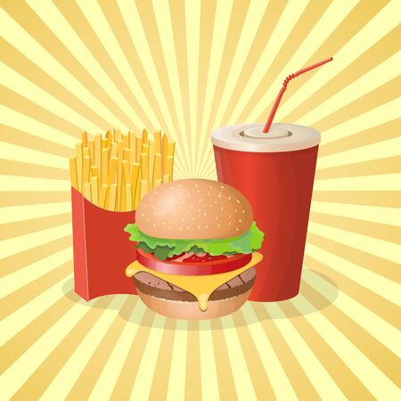 Burger, french fries and soda cup - cute cartoon colored picture. Graphic design elements for menu, poster, brochure. Vector illustration of fast food for bistro, snackbar, cafe or restaurant