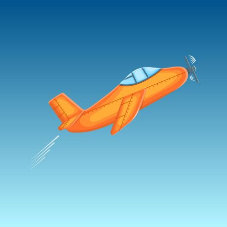 Cute cartoon plane takes off into the blue sky. Good for children's books or for the concept of a startup, packaging, postcard, flyer. Vector illustration