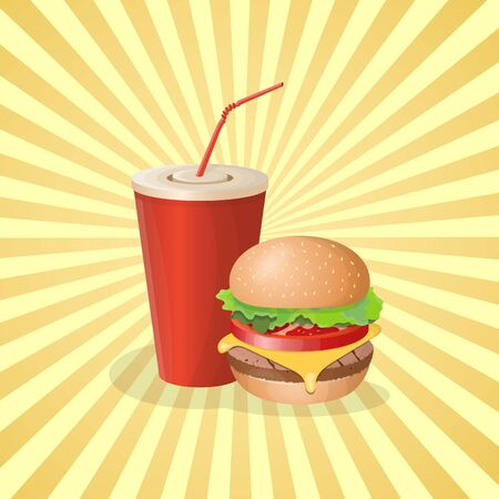 Burger and soda cup - cute cartoon colored picture. Graphic design elements for menu, poster, brochure. Vector illustration of fast food for bistro, snackbar, cafe or restaurant