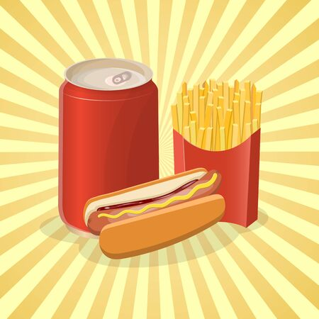 Hot dog, fries and soda in a tin can- cute cartoon colored picture. Graphic design elements for menu, poster, brochure. Vector illustration of fast food for bistro, snackbar, cafe or restaurant