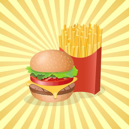 Burger and french fries in paper box - cute cartoon colored picture. Graphic design elements for menu, poster, brochure. Vector illustration of fast food for bistro, snackbar, cafe or restaurant
