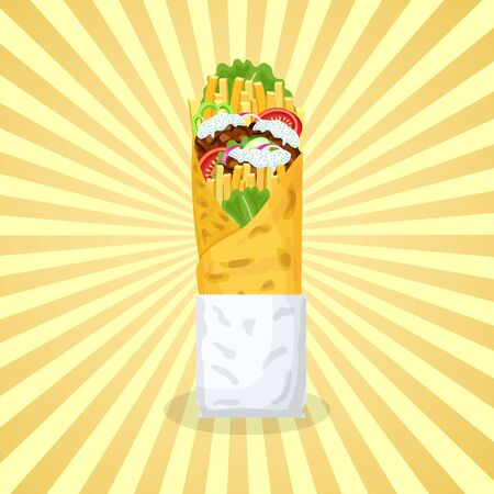 Delicious gyros - cute cartoon colored picture of traditional Greek food. Graphic design elements for menu, advertising, poster, brochure or background. Vector illustration of fast food