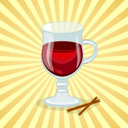 Delicious mulled wine with cinnamon sticks - cute cartoon colored picture of warming drink. Graphic design elements for menu, advertising, poster or background. Vector illustration of beverage