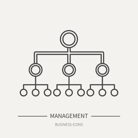 Hierarchy in management - business icon in flat thin line style. Graphic design elements for ad, apps, website,packaging, poster or brochure. Vector illustration Illustration