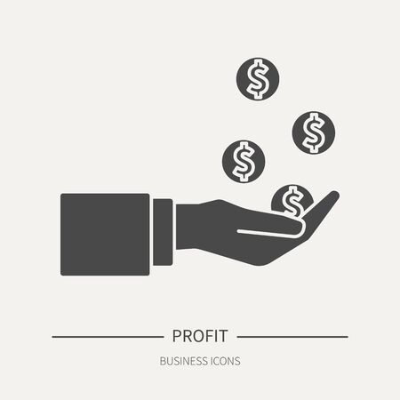 Profit - coins fall in the palm of your hand - business icon in flat style. Graphic design elements for ad, apps, website,packaging, poster or brochure. Vector illustration