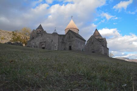 The Goshavank Monastery, previously known as the Nor Ghetik, located on the green hill in village Gosh