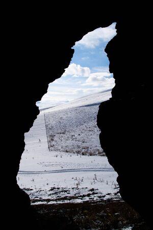 Secret window in the winter. Photo taken from inside the cave