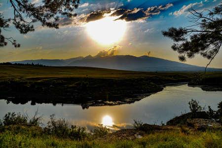 Fantastic sunrise over the lake