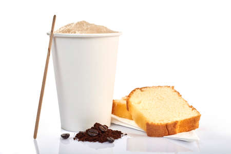 coffee cup and pound cake on white background