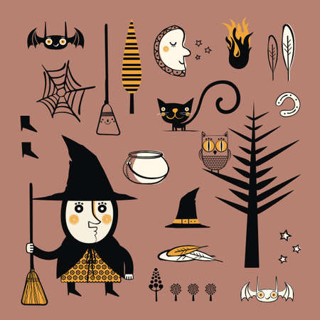 Set of witch objects  Vector