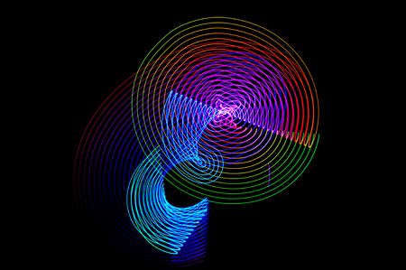 led lighting: Light painting. Abstract, futuristic, colorful long exposure, black background-36. Stock Photo