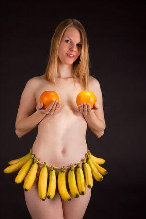 Young girl with banana skirt