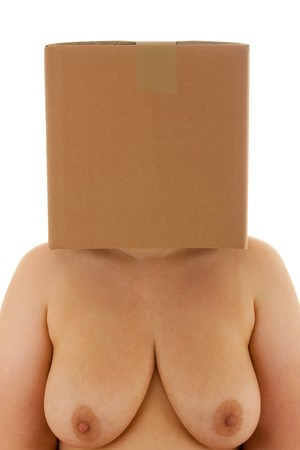 A woman has a box on her head Stock Photo