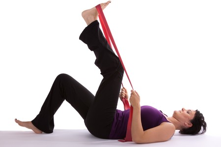 Exercises with Theraband Stock Photo