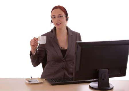 Young woman takes a break photo