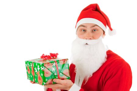 Santa Claus with a present Stock Photo - 8261819