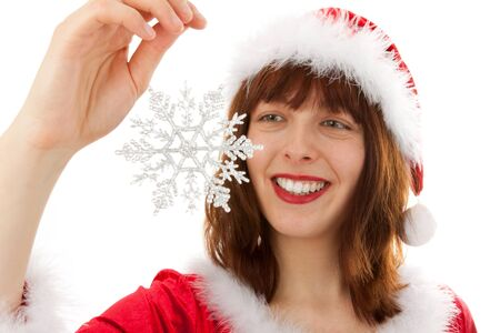 The Christmas woman with a snowflake photo