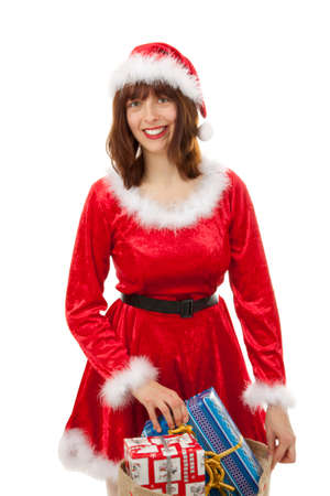 The Christmas woman with presents photo