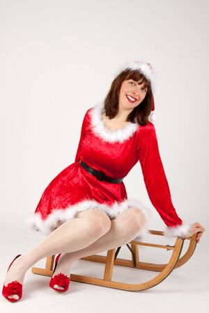 The Christmas woman on a her sled photo