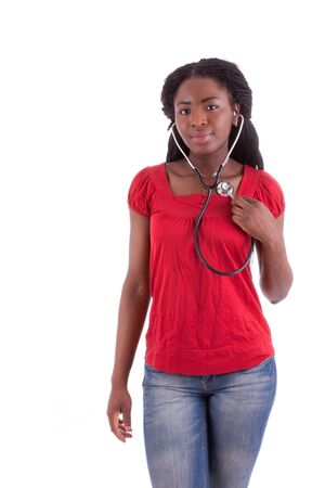 A young black doctor with a stethoscope in her hand