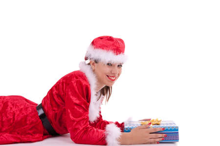 Santa Claus has a gift box in her hands photo