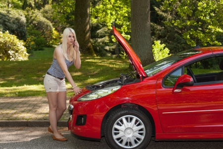 A young girl got a breakdown with her car