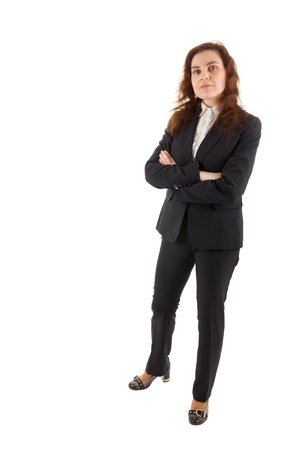 A young business woman standing in front of the camera Stock Photo - 17544322
