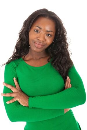 The young colored woman is standing in front of the camera Stock Photo - 18205342