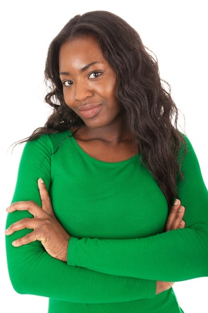 The young colored woman is standing in front of the camera Stock Photo - 18205328