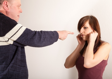 Father and daughter are arguing photo
