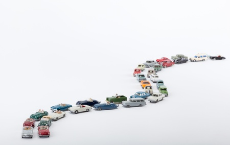 Many cars pile up on the road