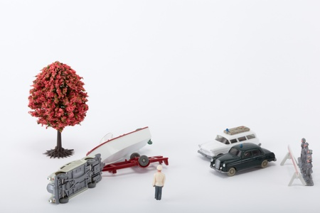 A car with a trailer had an accident photo
