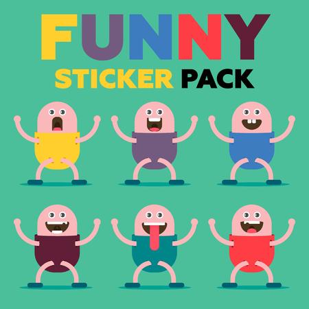 Funny sticker pack Illustration