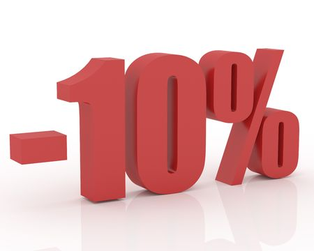 3D signs showing 10% discount and clearance