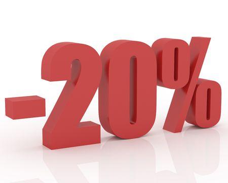 3D Anzeichen zeigen 20 % Rabatt und clearance Standard-Bild - 3565210