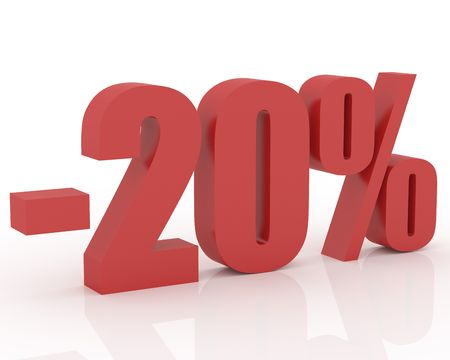 3D signs showing 20% discount and clearance Stock Photo - 3565210
