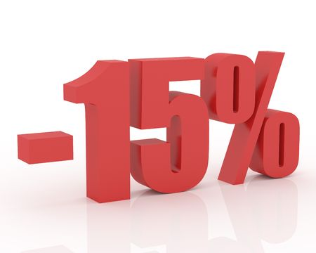 3D signs showing 15% discount and clearance Stock Photo
