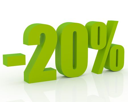 perks: 3D signs showing 20% discount and clearance Stock Photo