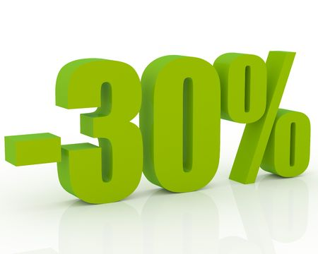 perks: 3D signs showing 30% discount and clearance Stock Photo